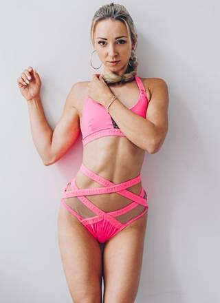 SET SHORTS WITH MESH AND TOP KIM STRIPES NEON PINK WITH SEQUIN INSERT RECYLING